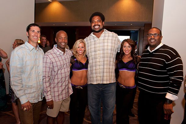 [L-R] Matt Stover, President and Founder of The Life and Breath Foundation Sean Hull, Ravens cheerleader Amanda D., former Ravens offensive tackle Jonathan Ogden, Ravens cheerleader Jane B., former Ravens offensive tackle Wally Williams