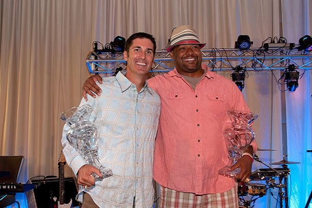 Former Ravens Matt Stover and Brad Jackson were among the night's honorees for their community outreach efforts, and each pledged $1,000 to The Life and Breath Foundation.